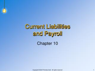 Current Liabilities and Payroll