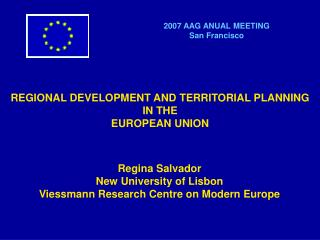 REGIONAL DEVELOPMENT AND TERRITORIAL PLANNING  IN THE  EUROPEAN UNION