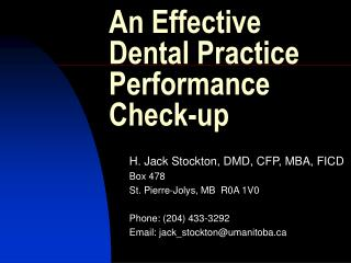 An Effective Dental Practice Performance Check-up