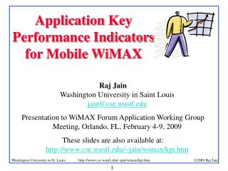 Application Key Performance Indicators for Mobile WiMAX