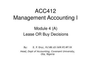 ACC412 Management Accounting I