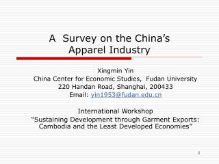 A  Survey on the China's  Apparel Industry