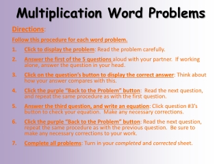 Word Problems multiplication  Year 6