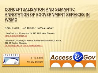 Conceptualisation  and Semantic Annotation of  eGovernment  Services in WSMO