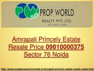 Amrapali Princely Estate Resale Price 09810000375 Sector 76