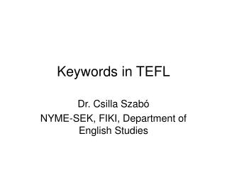 Keywords in TEFL