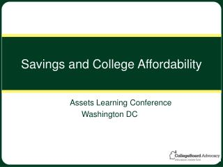 Savings and College Affordability