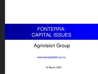 FONTERRA:  CAPITAL ISSUES