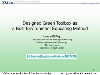Designed Green Toolbox as  a Built Environment Educating Method
