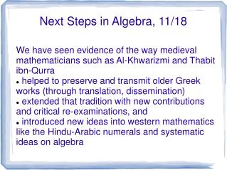 Next Steps in Algebra, 11/18