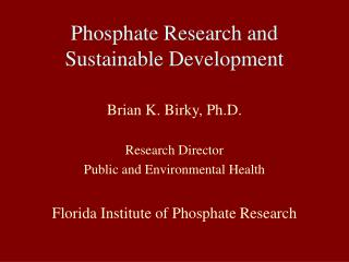 Phosphate Research and Sustainable Development