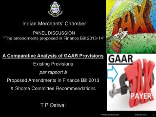 A Comparative Analysis  of GAAR Provisions  Existing  Provisions  par rapport à