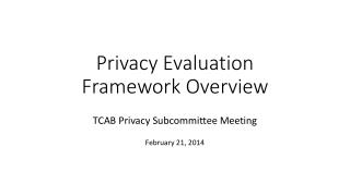 Privacy Evaluation Framework Overview