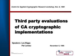 Centre for Applied Cryptographic Research workshop, Nov. 8, 1999