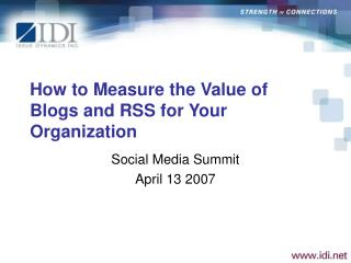 How to Measure the Value of Blogs and RSS for Your Organization