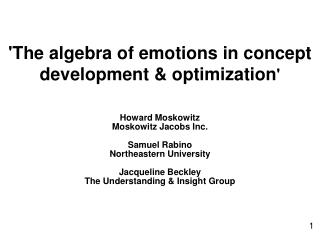 'The algebra of emotions in concept development & optimization '