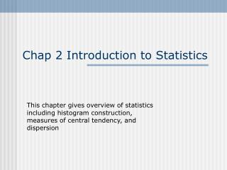 Chap 2 Introduction to Statistics