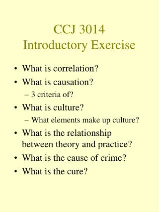 CCJ 3014  Introductory Exercise