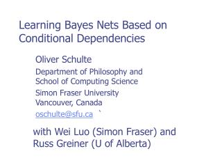 Learning Bayes Nets Based on Conditional Dependencies