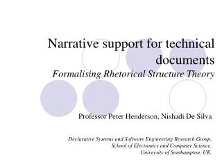 Narrative support for technical documents Formalising Rhetorical Structure Theory