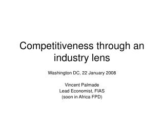 Competitiveness through an industry lens