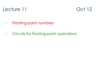 Lecture 11 Oct 12
