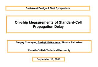 On-chip Measurements of Standard-Cell Propagation Delay