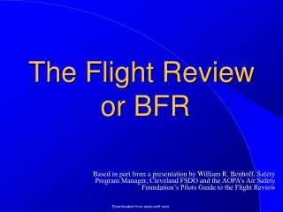 The Flight Review  or BFR