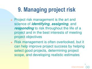 9. Managing project risk