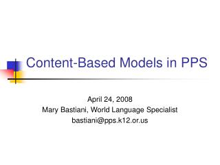 Content-Based Models in PPS