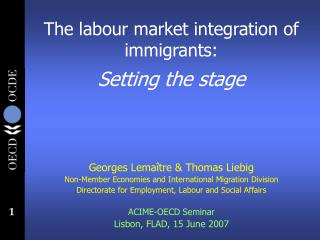 The labour market integration of immigrants:  Setting the stage