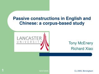 Passive constructions in English and Chinese: a corpus-based study