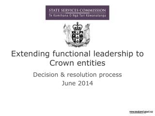 Extending functional leadership to Crown entities