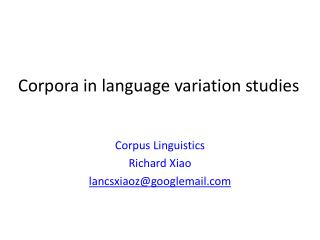 Corpora in language variation studies
