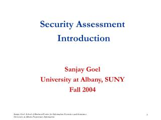 Security Assessment  Introduction Sanjay Goel University at Albany, SUNY Fall 2004