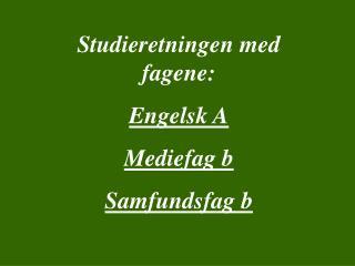 Studieretningen med fagene: Engelsk A Mediefag b Samfundsfag b