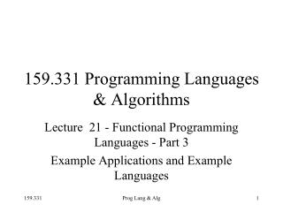 159.331 Programming Languages & Algorithms