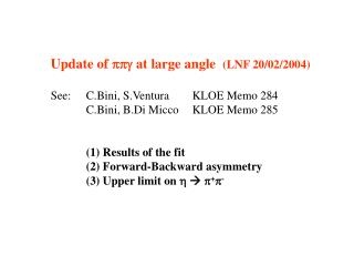 Update of  ppg  at large angle   (LNF 20/02/2004) See: 	C.Bini, S.Ventura 	KLOE Memo 284