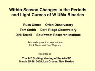 Within-Season Changes in the Periods and Light Curves of W UMa Binaries