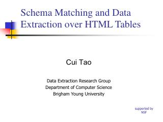 Schema Matching and Data Extraction over HTML Tables