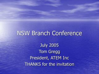 NSW Branch Conference