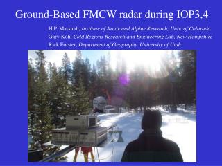 Ground-Based FMCW radar during IOP3,4