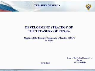 DEVELOPMENT STRATEGY OF THE TREASURY OF RUSSIA