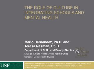 The Role of culture in integrating schools and mental health