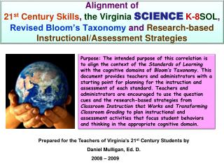 Prepared for the Teachers of Virginia's 21 st  Century Students by Daniel Mulligan, Ed. D.