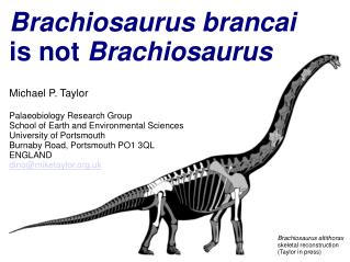 Brachiosaurus brancai is not  Brachiosaurus Michael P. Taylor Palaeobiology Research Group