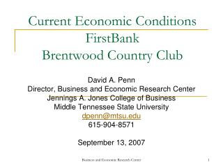 Current Economic Conditions FirstBank Brentwood Country Club
