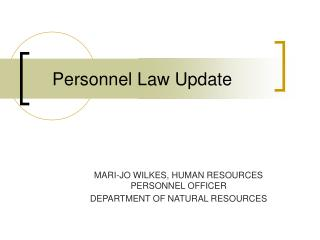 Personnel Law Update