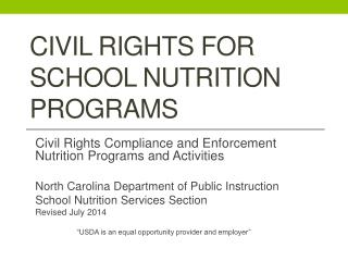 Civil Rights for School Nutrition Programs