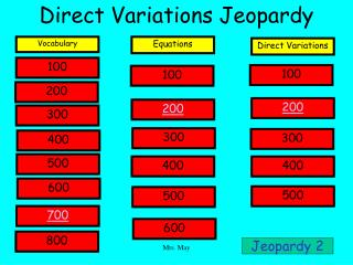 Direct Variations Jeopardy
